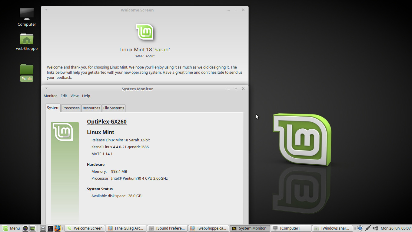 Linux Mint 18 Sarah Development machine Specs.